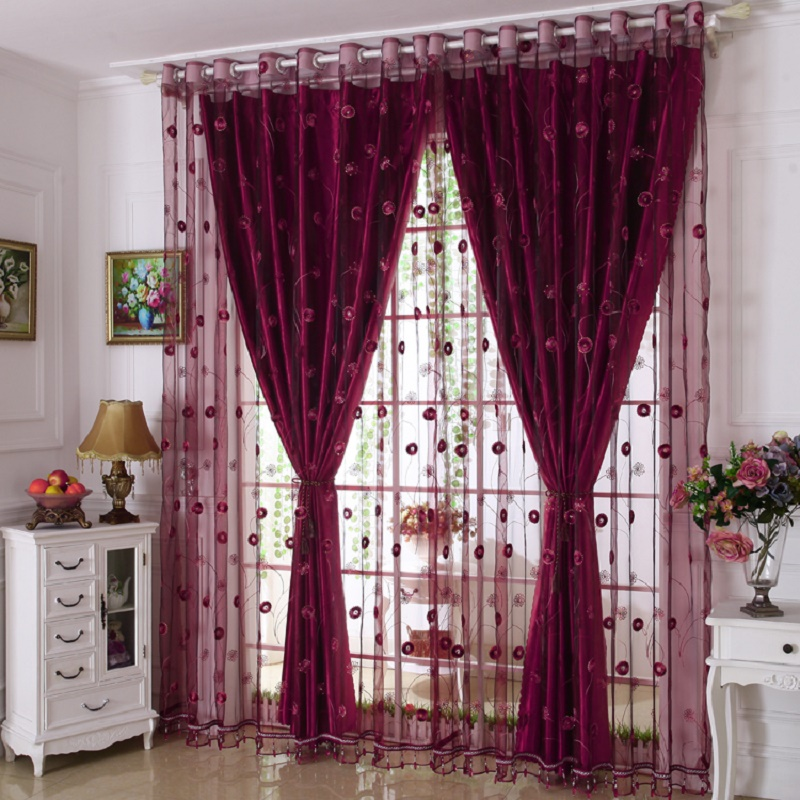 Luxury Embroidered Window Curtains Set for Living Room European Blackout  Curtains for the Bedroom (1 PC Curtain and 1 PC Tulle)