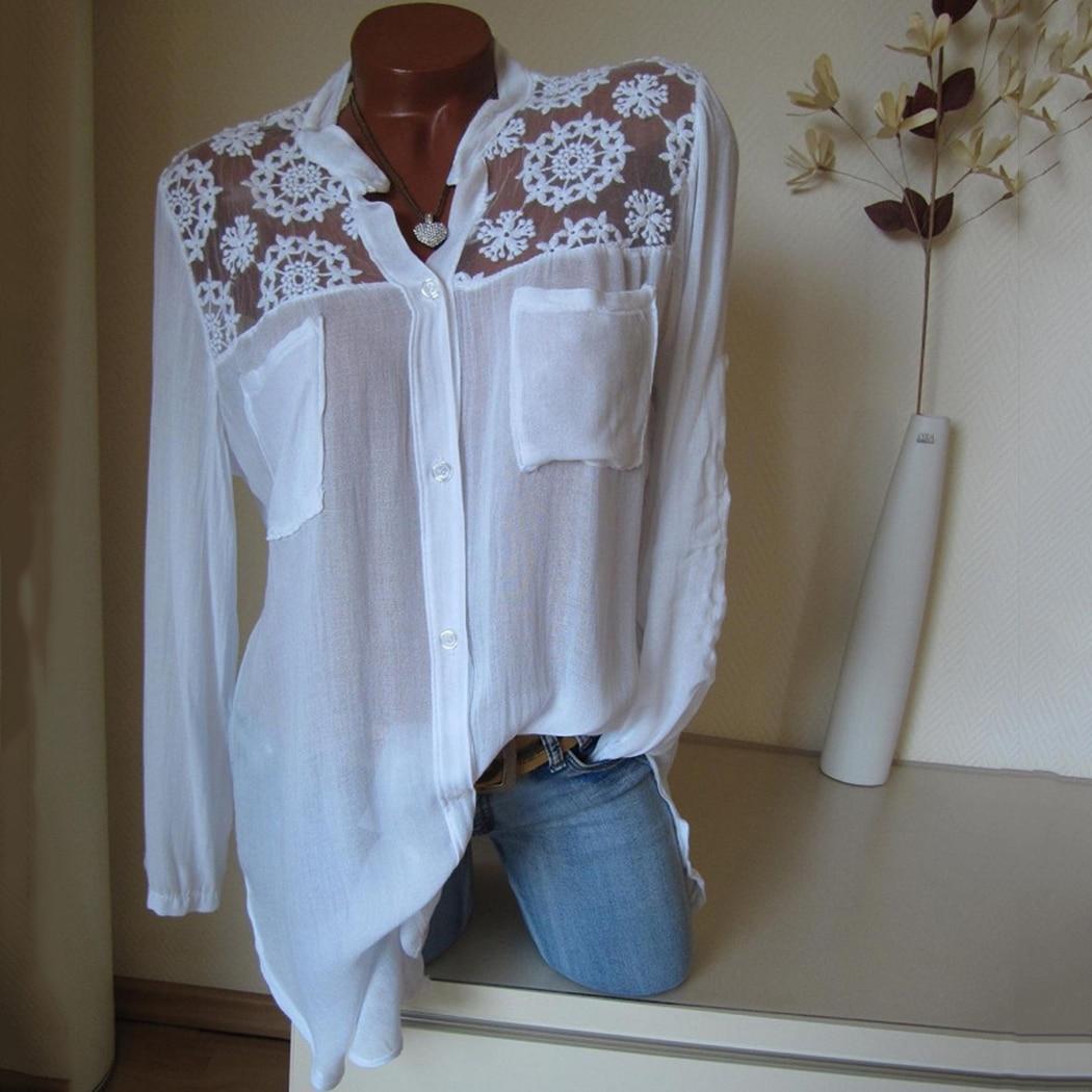8b29a3d07 Talla grande 4XL Mujer Tops y blusas encaje Floral señoras Oficina camisas  verano manga larga ...