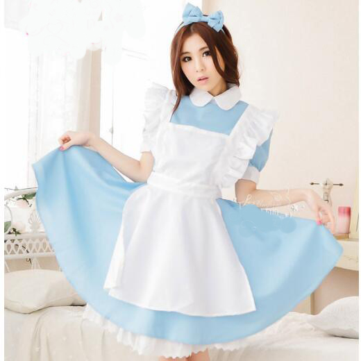 Frank Anime Home Alice In Wonderland Alice Lolita Maid Dress Lovely Uniform Cosplay Costume Stage Performance Suit Free Shipping
