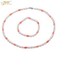 JYX Elegant coral pearl jewelry set 5*6.5mm real Natural White Freshwater Cultured Pearl with pink coral Necklace set 18