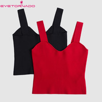 Women Spaghetti Strap Sexy Knitted Crop Top Summer V Neck Short Casual Club Tank Tops Black