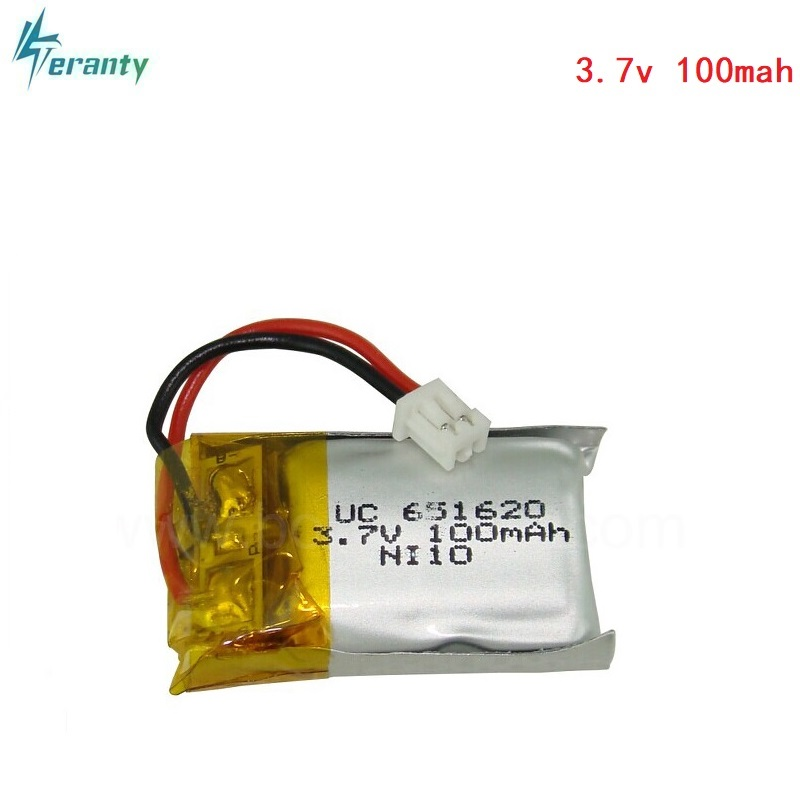 3.7v 100mah/120mah 20c For Cheerson CX10 CX-10 CX-10A RC Helicopter/RC quadcopter <font><b>3.7</b></font> V 100 mah Li-po <font><b>battery</b></font> 651620 1.25mm Plug image