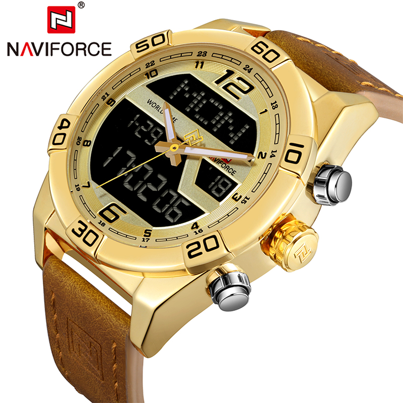 NAVIFORCE Brand Watch Men Sports Watches Men's Waterproof Quartz Date Clock Leather Army Military Wrist Watch Relogio Masculino honhx mens watch led digital date waterproof sports army males quartz watch outdoor electronics men clock relogio masculino y25