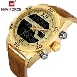 NAVIFORCE marka zegarek mężczyźni sport zegarki męskie zegarki wodoodporny zegarek kwarcowy z datownikiem skórzane armia wojskowy zegarek na rękę Relogio Masculino