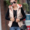 Vest Women Hooded Down Vest Removable Hat Winter Warm Jacket Casual Waistcoat Zipper Placket Clothing YRF001