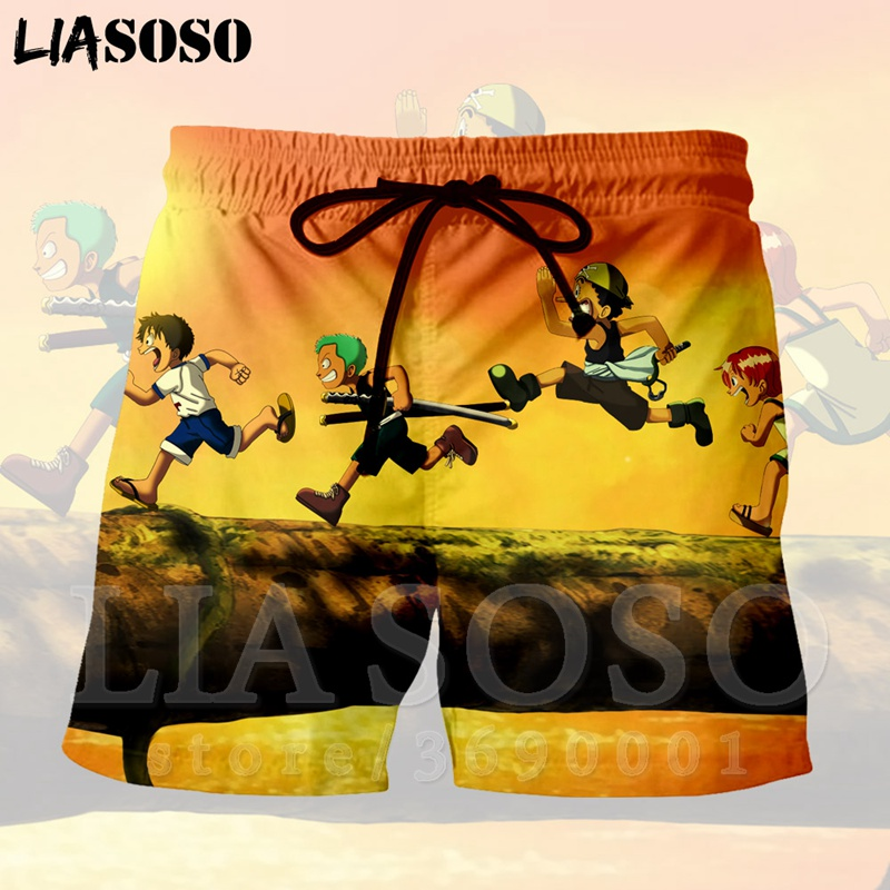 LIASOSO 3d Print Japan Anime One Piece Logo Monkey D Luffy Zoro Sanji Usopp  Men's Shorts Beach Cool Summer Brand Shorts X1348