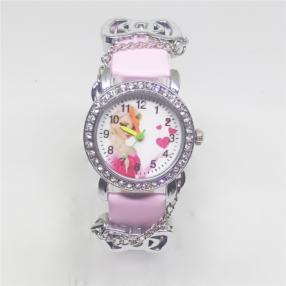 Мультфильм часы принцессы Эльзы прекрасные дети Девушки Парни Дети Студенты Кварцевые наручные часы кожа горный хрусталь часы horloge Reloj