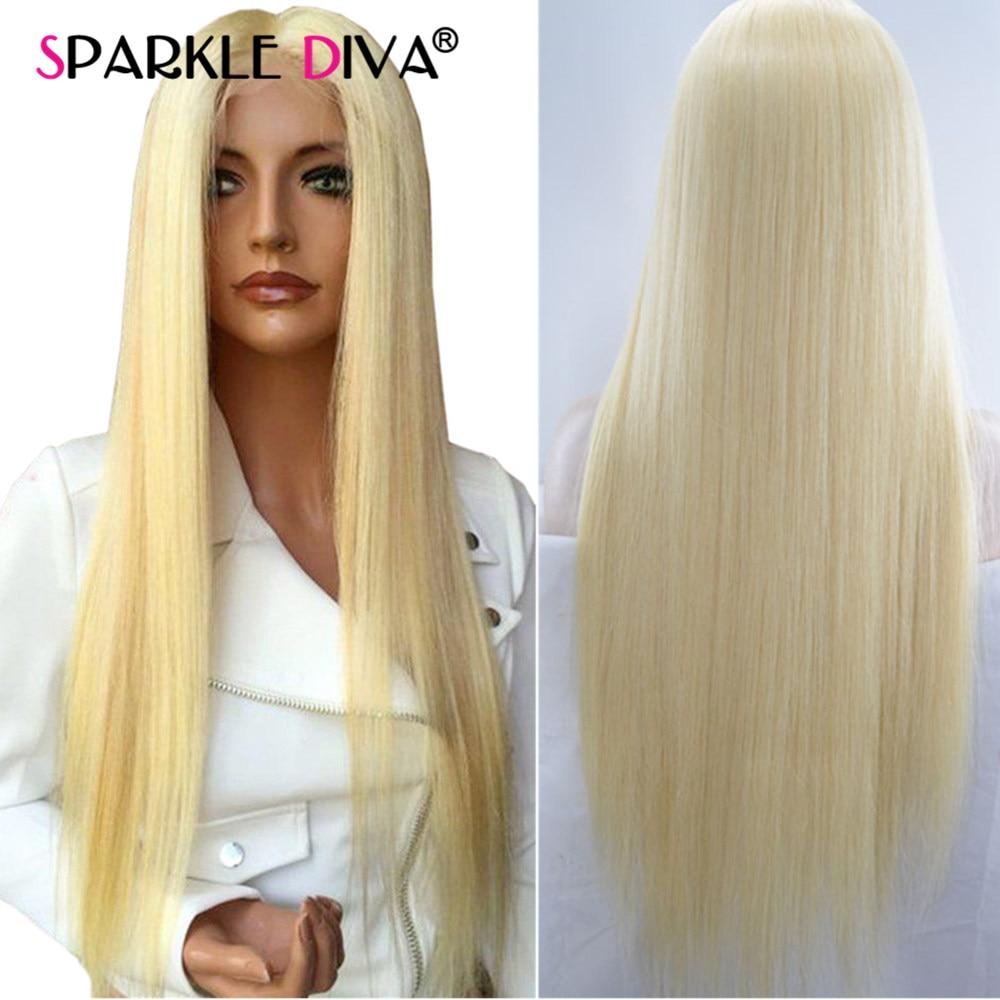 Miel Blond 613 Avant de Lacet Perruques 150% Densité Brésilien Remy de Cheveux Humains Perruques Pré Pincées Avec Bébé Cheveux Raides Dentelle frontale Perruque