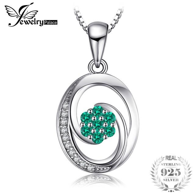 JewelryPalace Fashion 0.12ct Nano Russian Simulated Emerald Pendant S925 Sterlin