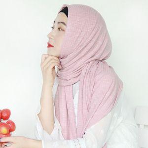 Image 2 - חדש נשים מודאלי כותנה קמטים עיצוב צעיפים מוסלמי חיג אב מוצק צבע מלזיה ג רזי חיג אב ארוך מגבת צעיף רך מטפחת