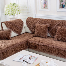Thicken Plush Fabric Sofa Cover Couch Cushion 3D flower Lace Slip Resistant Slipcover Europe Style Towel  For Living