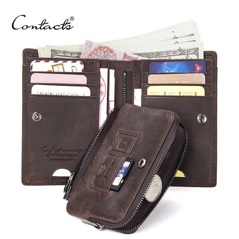 Контакта Crazy Horse корова кожаный бумажник для мужчин винтажный Кошелек для монет мужской Portmane держатель для карт Cartera человек короткие женские кошельки Cuzdan