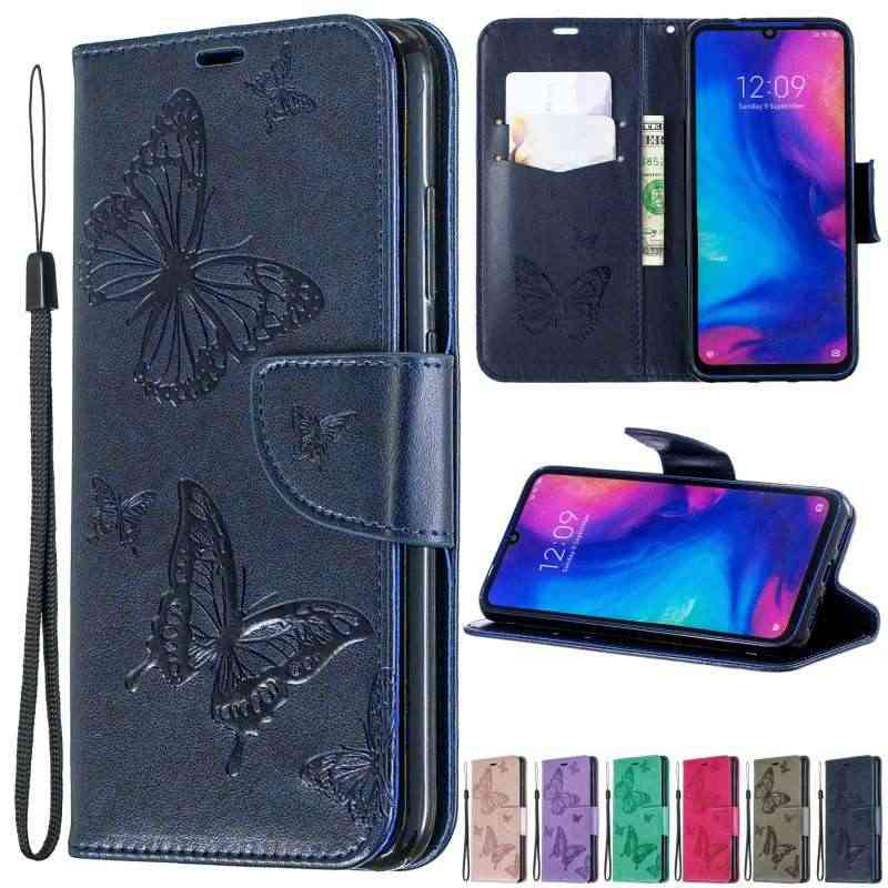 For Redmi Note 7 Note 7 Pro Butterfly Embossing PU Leather Wallet Case For Redmi 7 Redmi 6 6A 6 Pro Flip Phone Holder Cover