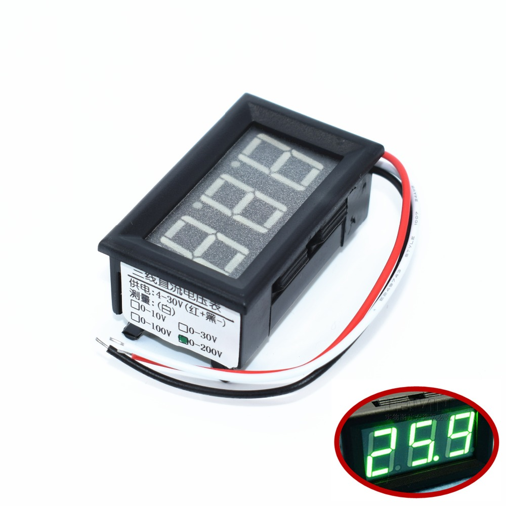 medium resolution of tenstar robot 0 56 digital voltmeter dc 0 200v three wires voltage panel meter led display color green