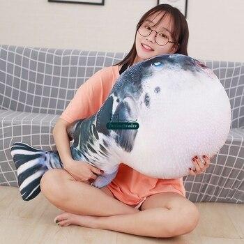 Dorimytrader pop lovely realistic animal puffer fish plush pillow toy big stuffed cartoon globefish toy cushion gift decoration