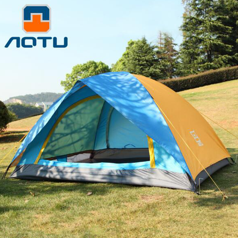 AOTU Waterproof Camping Tent 2 Person Double Layer Portable Outdoor Hiking  Tourist Huning Travel Picnic Beach Tent yingtouman outdoor 2 person waterproof double layer tent fiberglass rod portable ultralight camping hikingtents