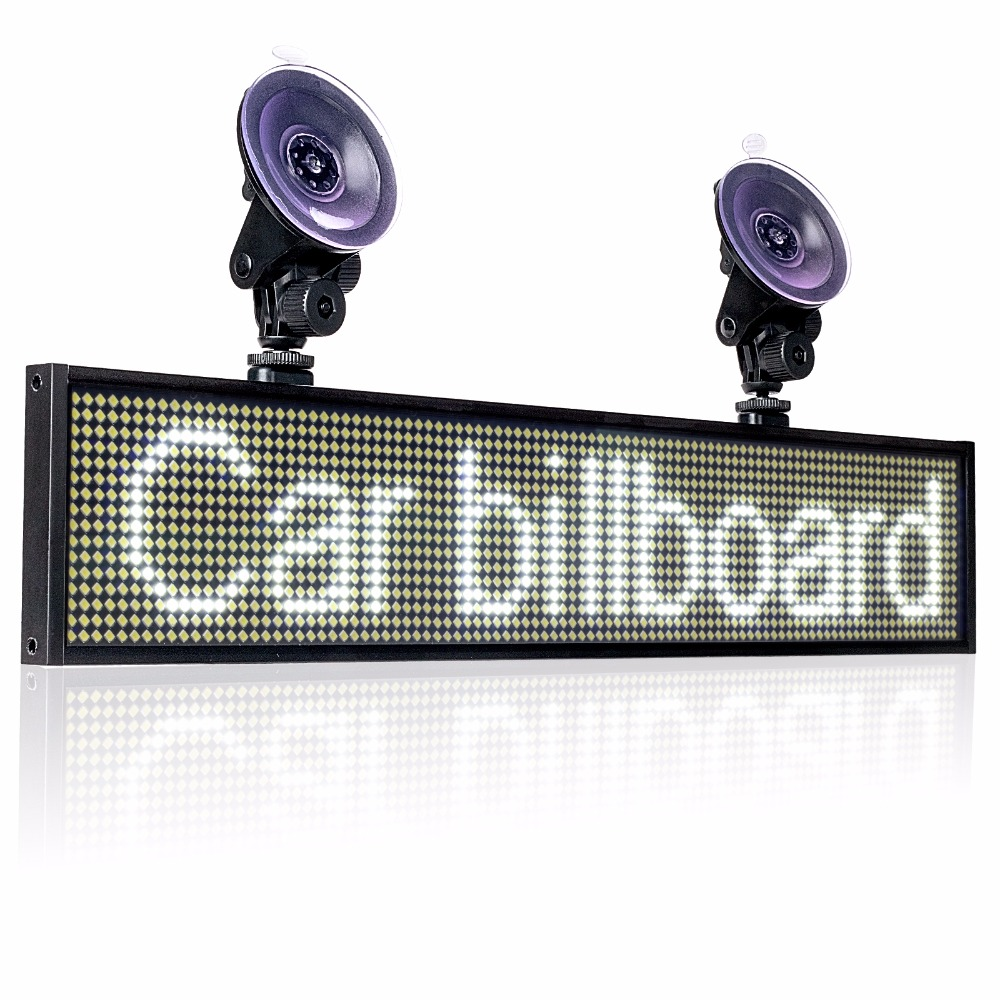 Hot 12v White Wif P5mm SMD LED Signs Panel,Car Scrolling Ad Message Board Indoor Display Screen Support IOS Phone Input +2sucker