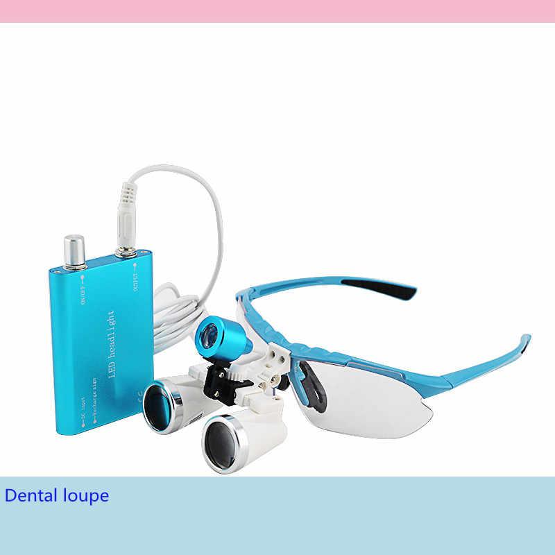 CE доказал зубные хирургические медицинские стоматологические лупы стеклокерамика 3,5X420 мм + светодиодный головной свет лампы (синий) черный/серебристый чехол
