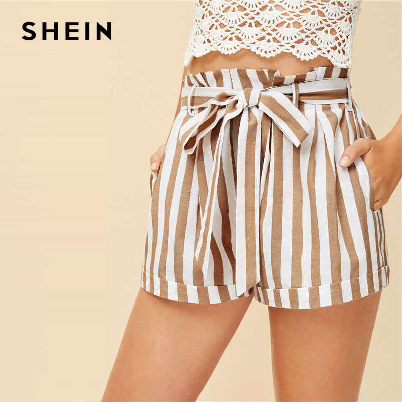 a7889e3753 ... SHEIN Khaki Notched Collar Vertical-Stripe Roll Up Sleeve Blazer and Belted  Shorts Set Spring ...