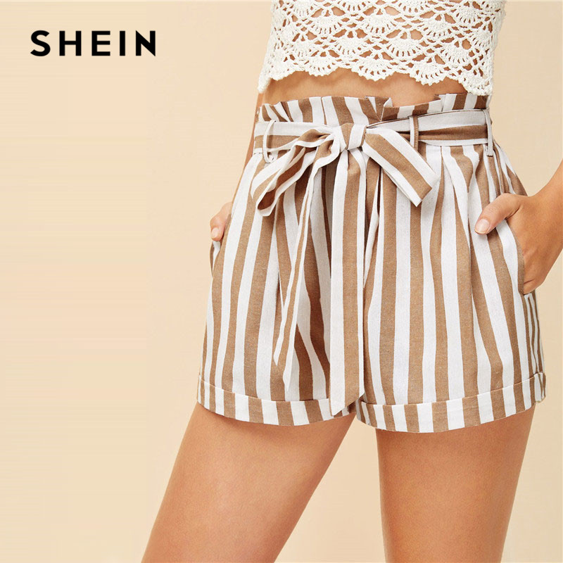 0a499a3a7c SHEIN Khaki Notched Collar Vertical Stripe Roll Up Sleeve Blazer or Belted  Shorts Set Spring Summer Women Casual Two Piece Set-in Women's Sets from  Women's ...