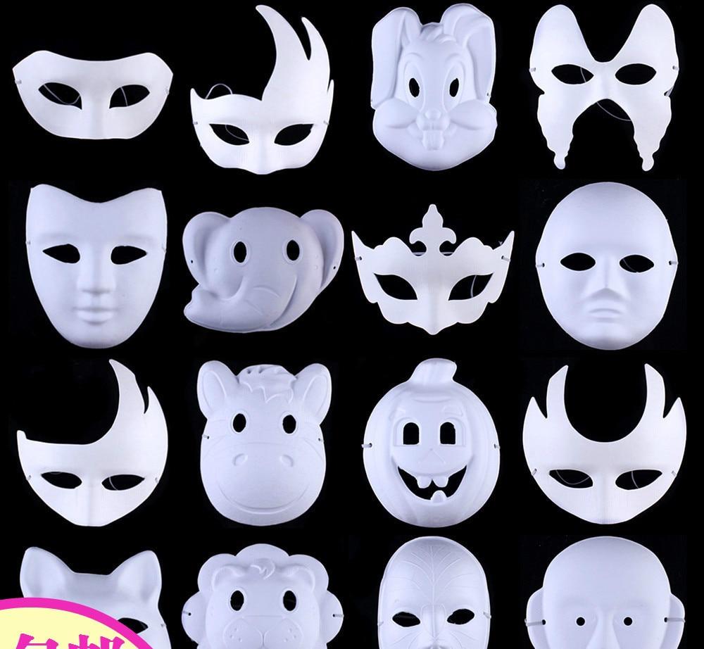 5 unids / lote baile blanco pintado máscara DIY máscara de - Para fiestas y celebraciones