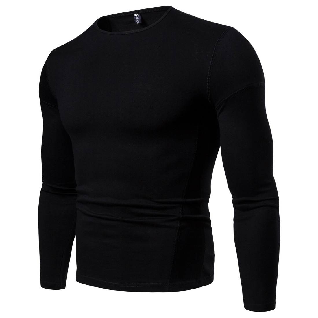 Men 39 s Long sleeved T shirt Solid Color European Code Cotton T shirt Round Neck Wild Shirt Bottoming Shirt YT026 in T Shirts from Men 39 s Clothing