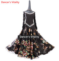 2018Women Lady custom made Black Performance Competition Standard Ballroom Dance printing Skirts Dress For Waltz Ballroom