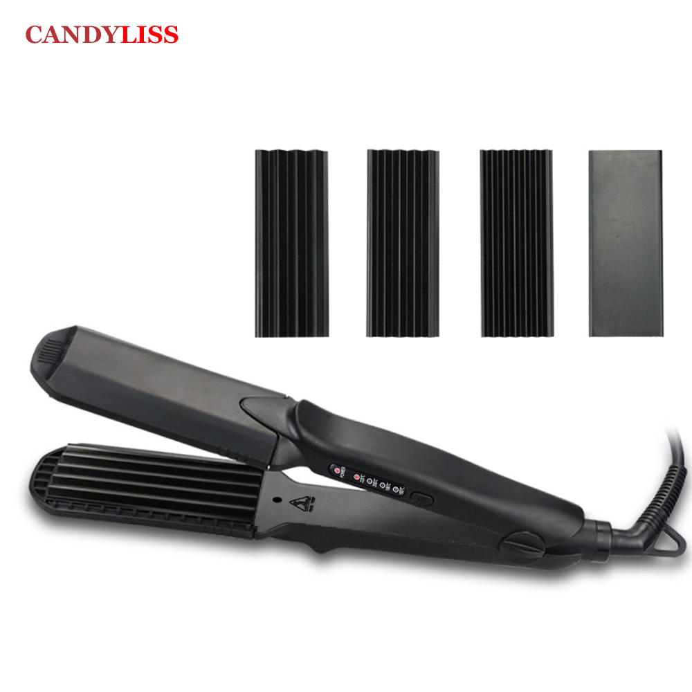 ProTourmaline Ceramic Corn Plate Hair Straightener Styling Tools Interchangeable Corrugated Crimper Waves Straightening Iron ckeyin 110 240v electric straightening iron ceramic corrugated hair crimper straightener corn plate fast straight hair flat iron