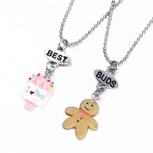 2017 New Arrivals 2Pcs Set Best Friends BFF Resin Cartoon Baby Biscuits & Ice Cream Pendant Chain Necklace Lead Nickel Cadmium