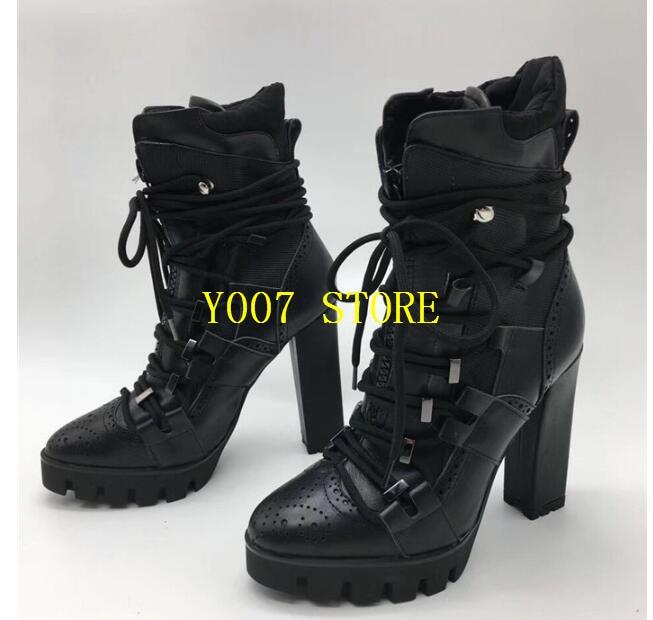 Piste Femmes Noir As Mode forme Bottes Bottines Plate Hiver 2019 Automne Chaussures Femme De Martin Talons Lacets Picture noir Haute Hauts Chunky ZWqnXwd