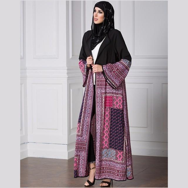 Womens Long Robe Dress Black Print Long Sleeve Loose Clothing Plus Size 5XL With Belt