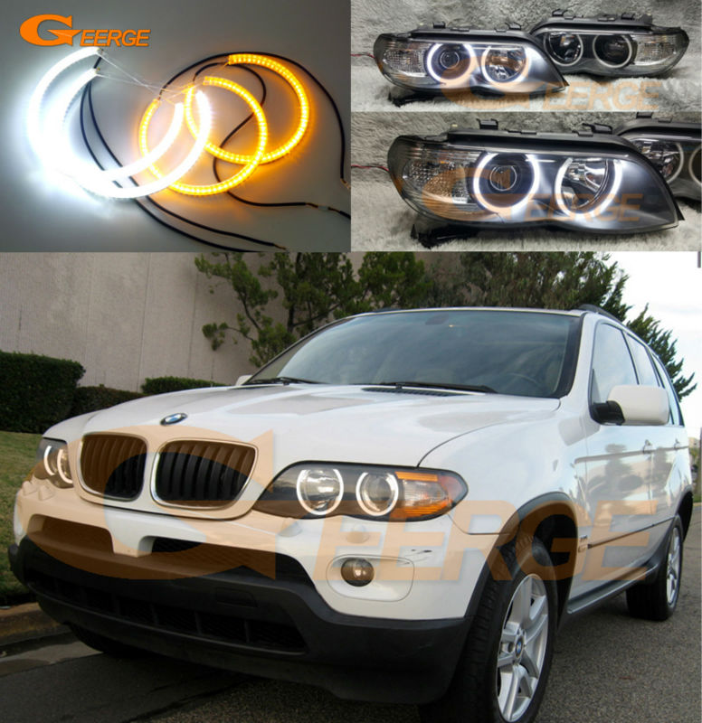 For BMW X5 E53 2004 2005 2006 Excellent Ultra bright Dual Color Switchback smd LED Angel Eyes kit