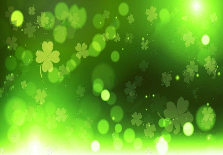 wall background Vinyl cloth High quality Computer print Green Clover Bokeh Happy Saint Patrick Day backdrops