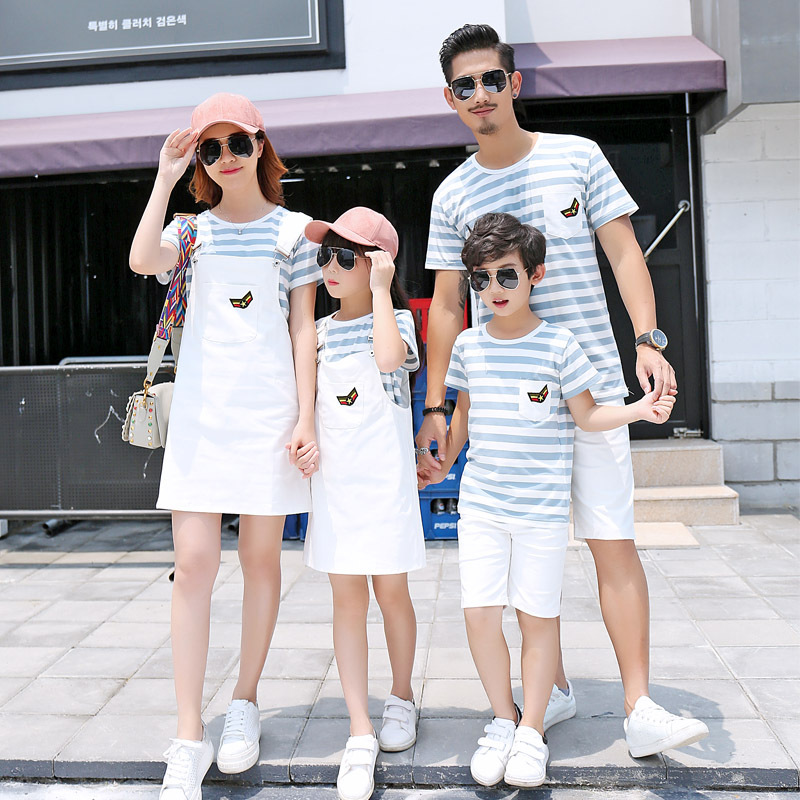 2018 новый летний мамы Одежда для девочек хлопковая футболка с короткими рукавами в полоску юбка с подтяжками папа и одежда для мальчиков с ко... ...