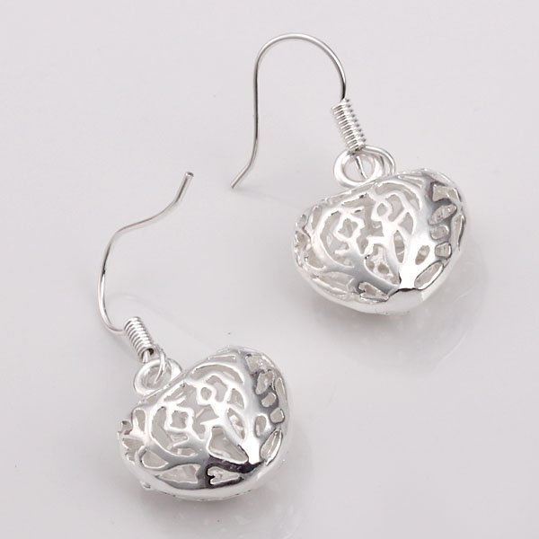 Sterling Silver 925 Jewelry Carven Flower Hearts Earrings Dangles Drops E021