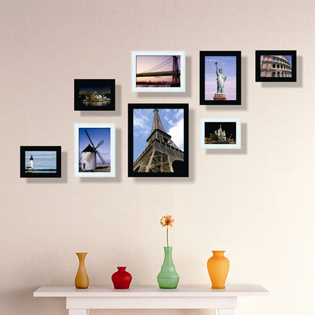 8pcs lot classic black and white frame combination photo wall frame