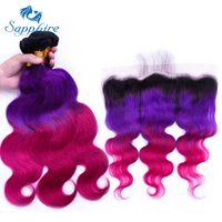 Sapphire Dark Roots Ombre 1b purple/red Brazilian Body Wave Bundles with Frontal, Remy Human Hair Bundles with Frontal Freeship