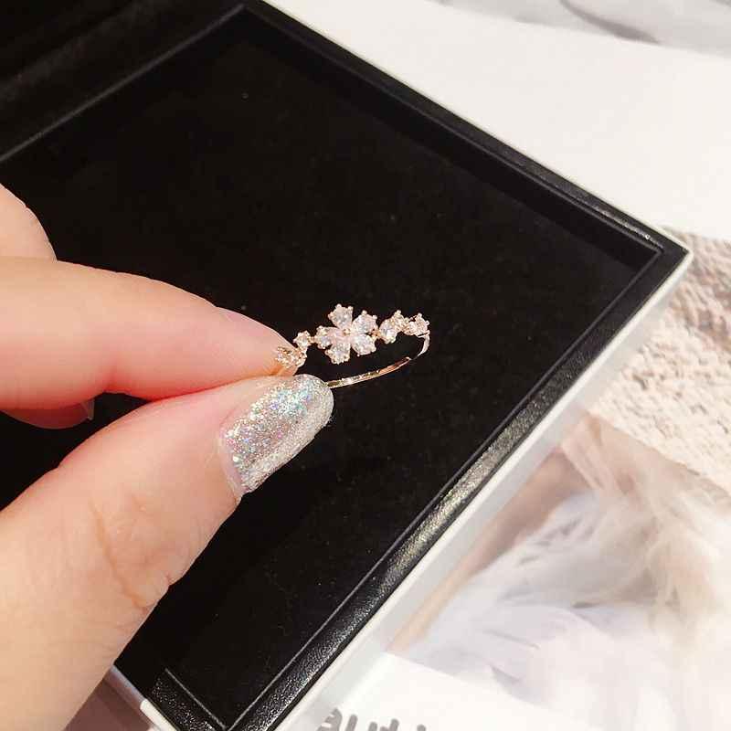 Bague avec fleur en Zircon cubique de Style coréen de haute qualité pour femmes, Bague couleur or Rose, bijoux