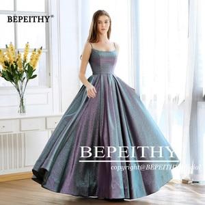 Image 5 - Abiti Da Cerimonia Da Sera A line Evening Dress Long 2020 Vestido De Festa Cheap Prom Dress Gown Elegant Glitter Fabric New