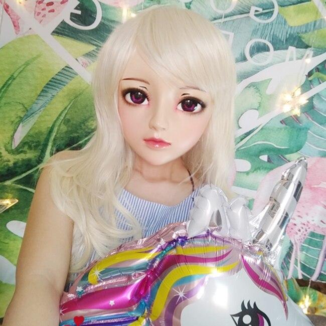 Diligent female Sweet Girl Resin Half Head Kigurumi Bjd Mask Cosplay Japanese Anime Role Lolita Mask Crossdress Doll Mask Perfect In Workmanship jun-05