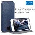 X-nivel de estilo de negocios de cuero flip phone case para iphone 7 7 plus 5 5S 6 6 s 6 plus case case cubierta de lujo