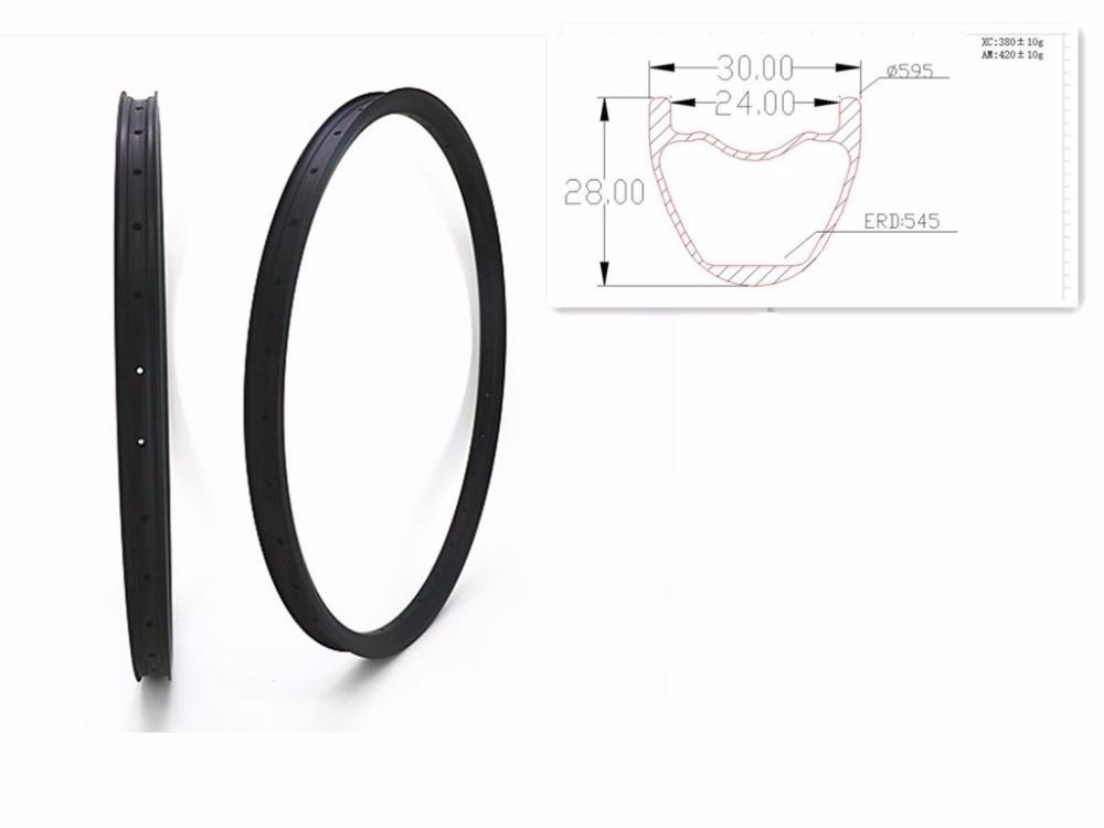405g 29er XC AM 30x28mm hookless cerchi in MTB in carbonio bici da corsa senza camera d'aria della bicicletta della Montagna cerchi copertoncino UD 3 k 12 k opaco lucido