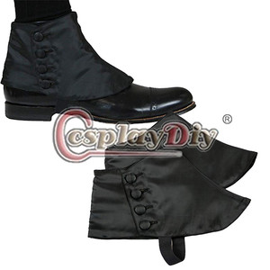 Image 4 - Cosplaydiy Medieval Historical Retro Mens Premium Satin Buttons Spats Victorian Shoes Covers Spats L320