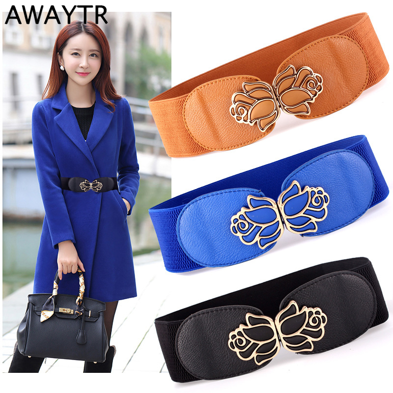 Awaytr Fashion Wide Women Belts Elastic Canvas PU Leather Cummerbund Metal Hook Waist Belt Waistband Designer Belts For Women