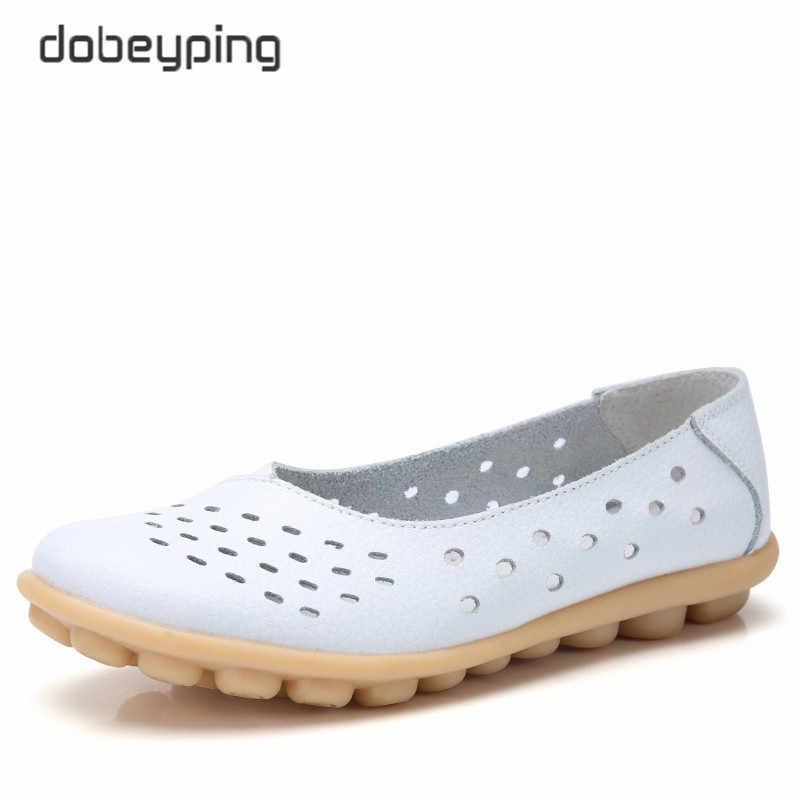 Dobeyping Hakiki Deri Kadın Flats Yeni Cut-Out Yaz Ayakkabı Kadın Içi Boş kadın Loafer'lar Kadın Düz Ayakkabı Büyük boyutu 35-44