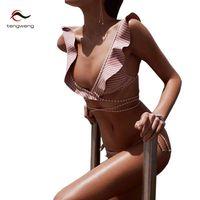 Tengweng Nueva Striped imprimir Traje de Baño Brasileño Biquini traje de Baño Sexy Bikinis Set 2017 Vintage Retro traje de Baño Del Vendaje