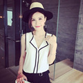 2017 New Fashion Women's Sleeveless Black Side Chiffon Blouses Work Wear Ladies Tops Womens Casual White V Neck Blouse Shirt