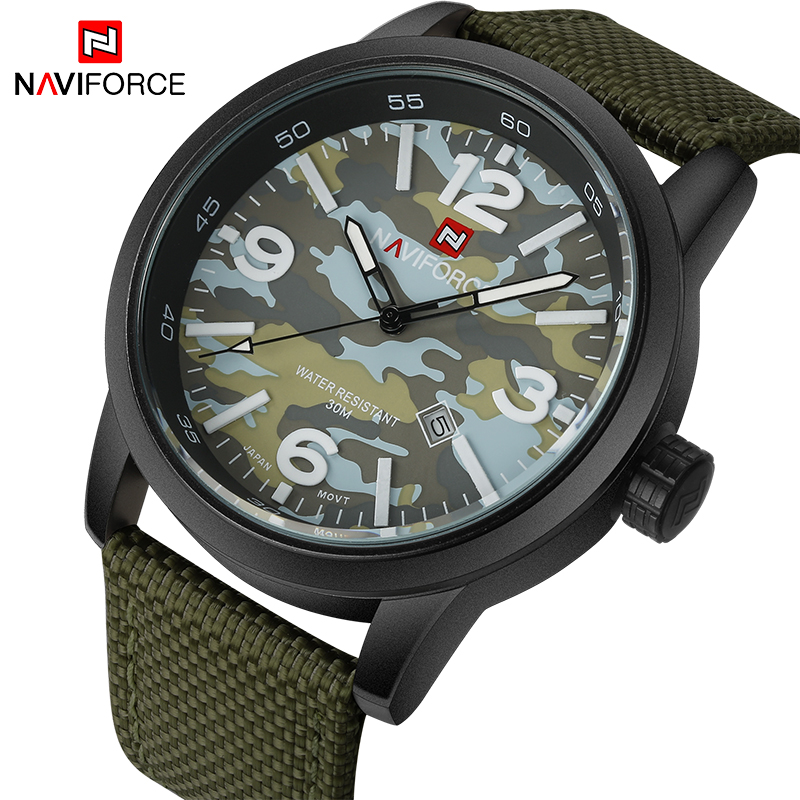 2017 New Luxury Brand NAVIFORCE Men Army Military Watches Men's Quartz Clock Male Fashion Sports Wrist Watch Relogio Masculino biker jeans mens brand black skinny ripped zipper full length pants hip hop cotton denim distressed pantalones vaqueros hombre