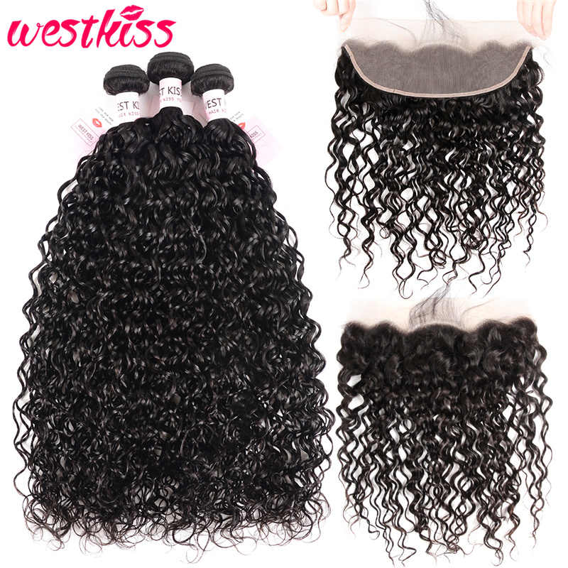 West Kiss Hair Water Wave Bundles With Frontal Natural Color Brazilian Hair Weave Bundles 13x4 Lace Frontal Closure Remy Hair