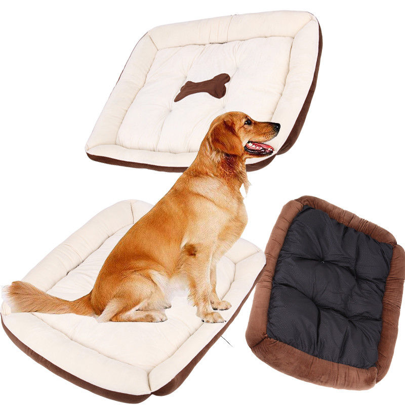 (Ship from UK) Pet Dog Bed Large Soft Warm Cushion House Nesting Dog Mat Blanket Pad XL Size flower pattern soft cloth pet bed mat w catnip bee toy for cat dog orange white large size